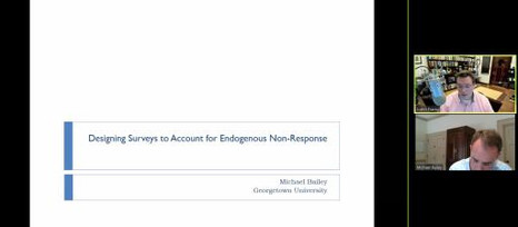 "Michael Bailey, ""Going beyond Weights: Designing Surveys to Account for Endogenous Non-Response"""