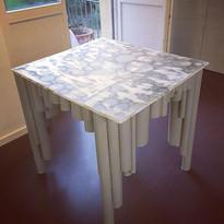 cardboard table.