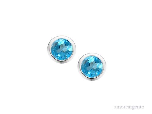 Blue Topaz Orbit Earrings