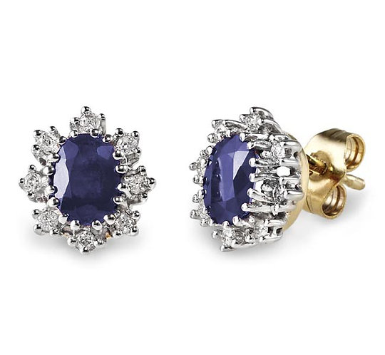 Sapphire Diamond Cluster Studs