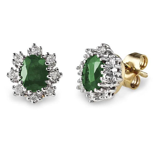 Emerald Diamond Cluster Studs