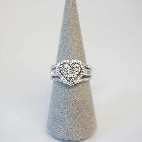 9ct White Gold Heart Diamond Cluster Ring