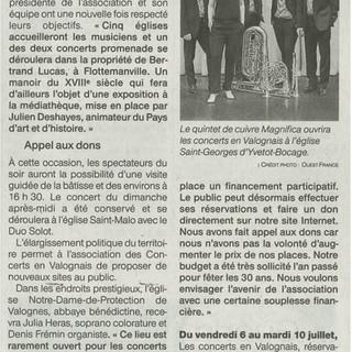 Article Ouest-France du 23-24 juin 2018.