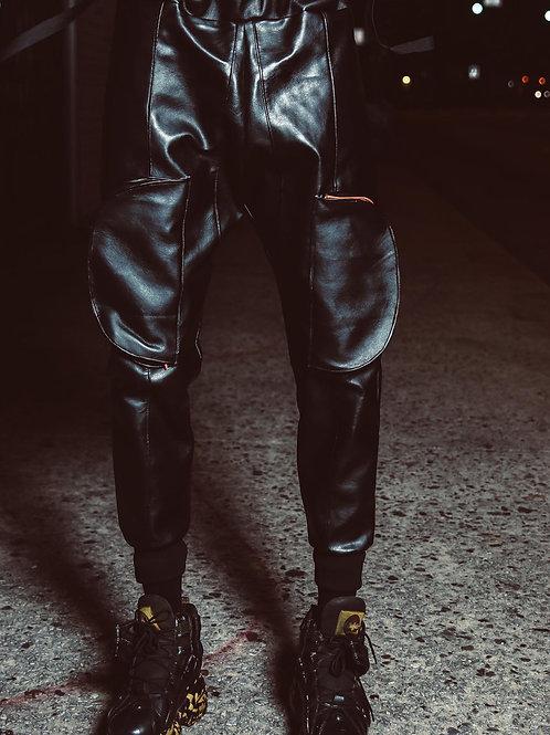 Leather Docket Cargo Pants