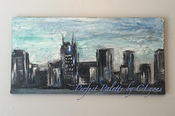New painting complete,  Cityscape Acrylic Canvas #perfectpalettebyclyons #hendersonvilletn #acrylicp