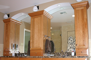 custom master bath, arched mirrors, dual vanities, custom tile work
