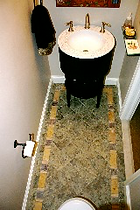powder room wynnewood, tie floo, tile inlay, design build