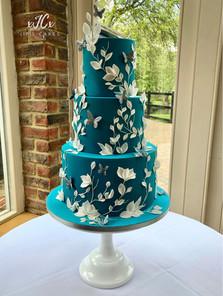 Teal and White Wedding Cake   Jip's Cakes   Wedding cakes Essex & Hertfordshire