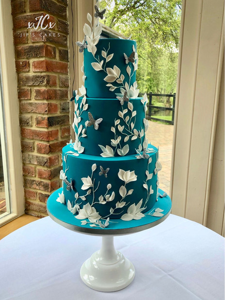 Teal and White Wedding Cake | Jip's Cakes | Wedding cakes Essex & Hertfordshire