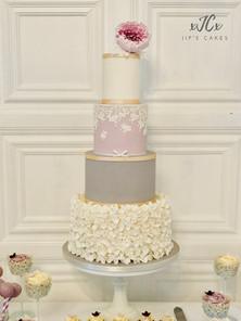White, Grey and Lilac wedding cake   Jip's Cakes   Wedding cakes Suffolk   Wedding cakes Essex & Hertfordshire