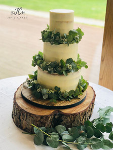 Semi-naked wedding cake with Eucalyptus   Jip's Cakes   Weding Cakes Essex & Hertfordshire