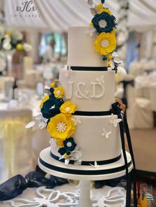 Navy and yellow colour theme wedding   Jip's Cakes   Wedding cakes Essex & Hertfordshire