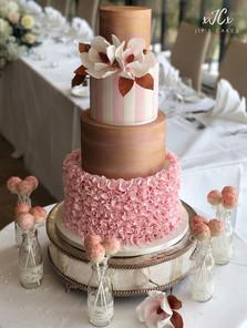 Magnolia and ruffles wedding cake   Jip's Cakes : wedding cakes Essex & Hertfordshire