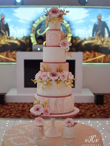 Extravagant pink white and gold wedding cake   Jip's Cakes   Wedding cakes Essex & Hertfordshire