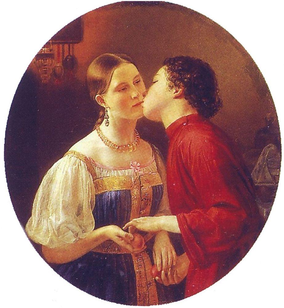 Фаддей Антонович Горецкий. Христосование. 1850.