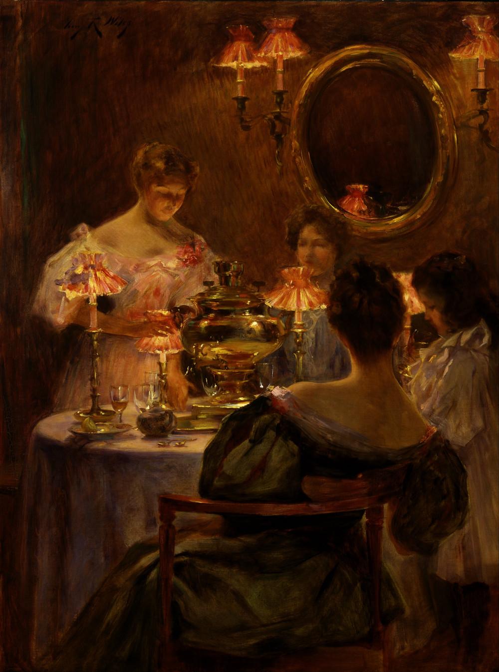 Ирвинг Рáмзи Уайлз. Русское чаепитие. Ок. 1896 г. Холст, масло. Смитсоновский музей американского искусства, Вашингтон.