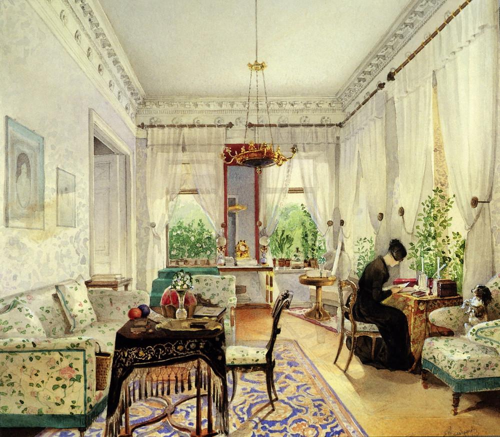 Н.И. Тихобразов. Интерьер в имении Лопухиных. 1844 г
