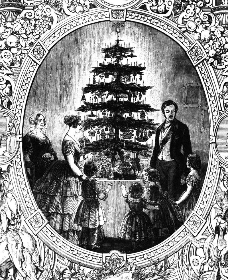 Королева Виктория, принц Альберт и их дети у рождественской ёлки