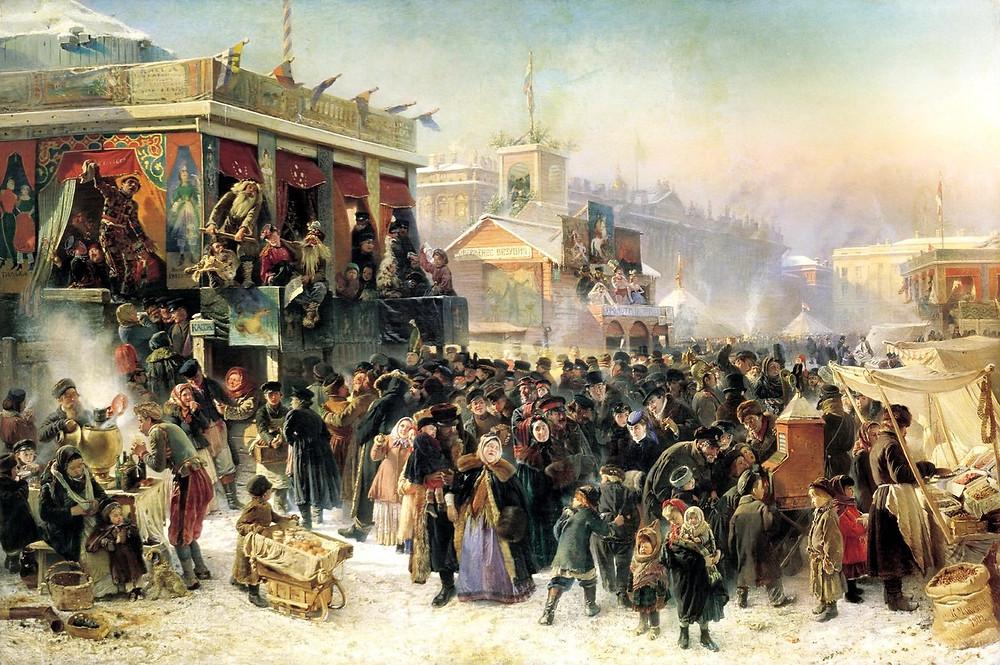 К. Маковский. Народное гулянье во время масленицы на Адмиралтейской площади в Петербурге. 1869.