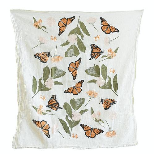 Butterflies & Milkweeds Tea Towel