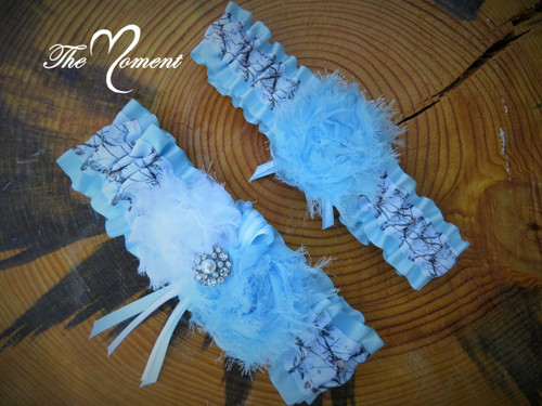 1fbac33b6 White Camo with Powder Blue Garter Set