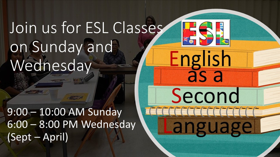 ESL - Wednesday and Sunday Classes slide