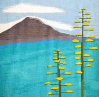 tapestry weaving of a mountain landscape