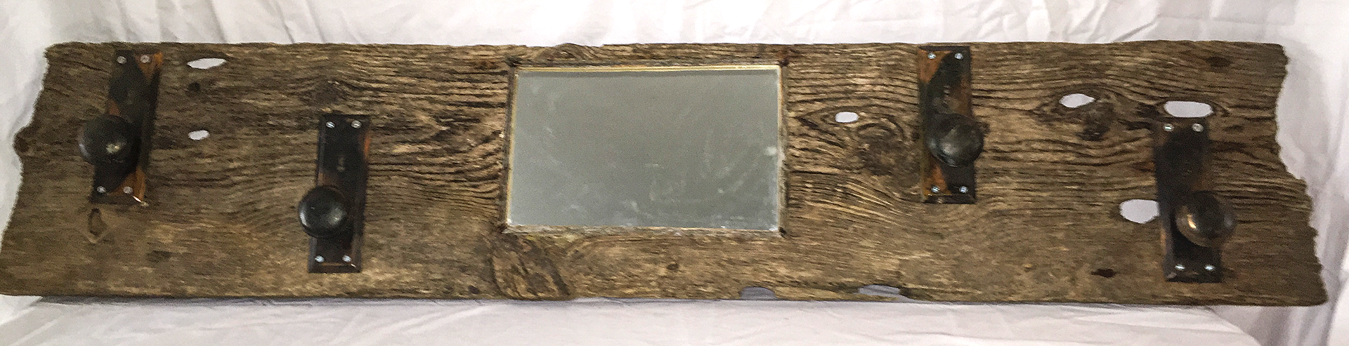 Barn Wood Coat Rack with Mirror