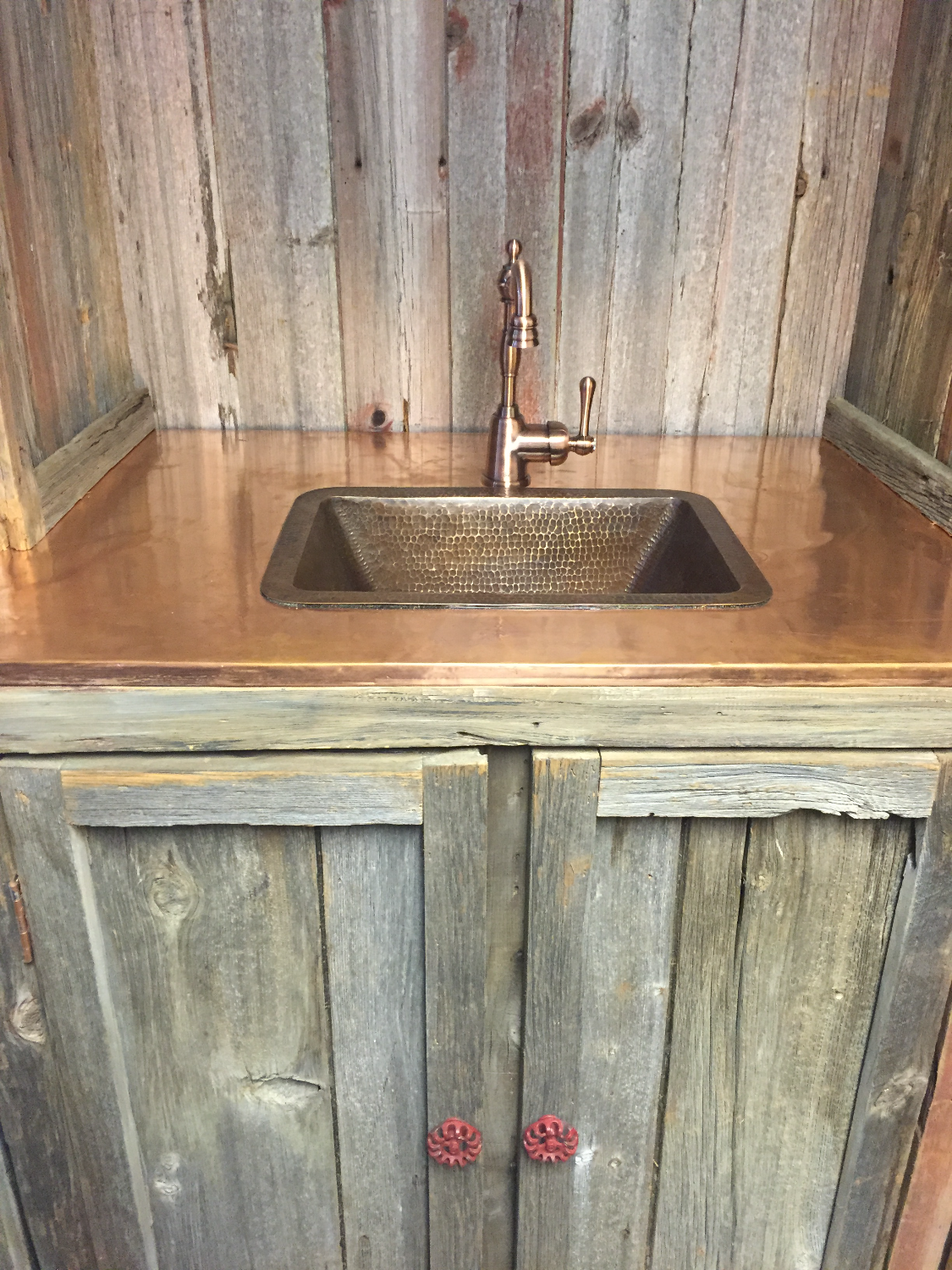 Wet Bar Copper Counter w/Copper Sink