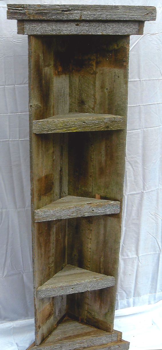 Tall Corner Barn Wood Shelf