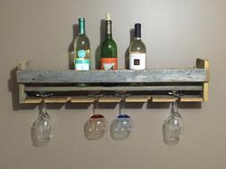 Rustic Barn Wood Open Top Wine Shelf