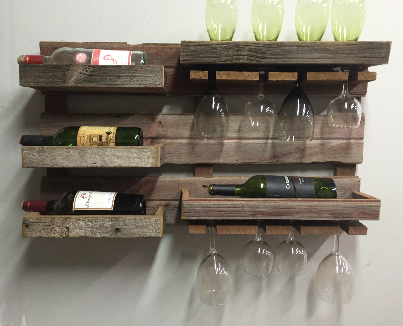 Rustic Barn Wood Wall Wine Rack
