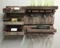 Rustic Barn Wood Wall Wine Rack