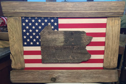 Framed American Flag State Cut Out