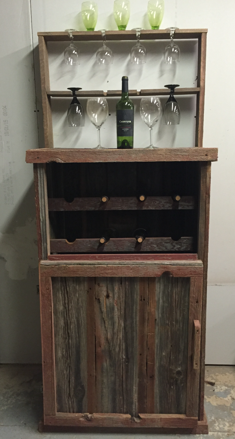 Rustic Red Barn Wood Wine Bar/Cabine