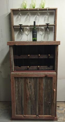 Rustic Red Barn Wood Wine Bar/Cabine