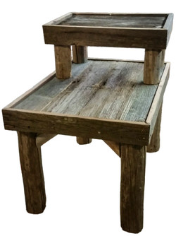 Barn Wood End Table with 2 levels
