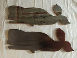 Custom order barn wood whales