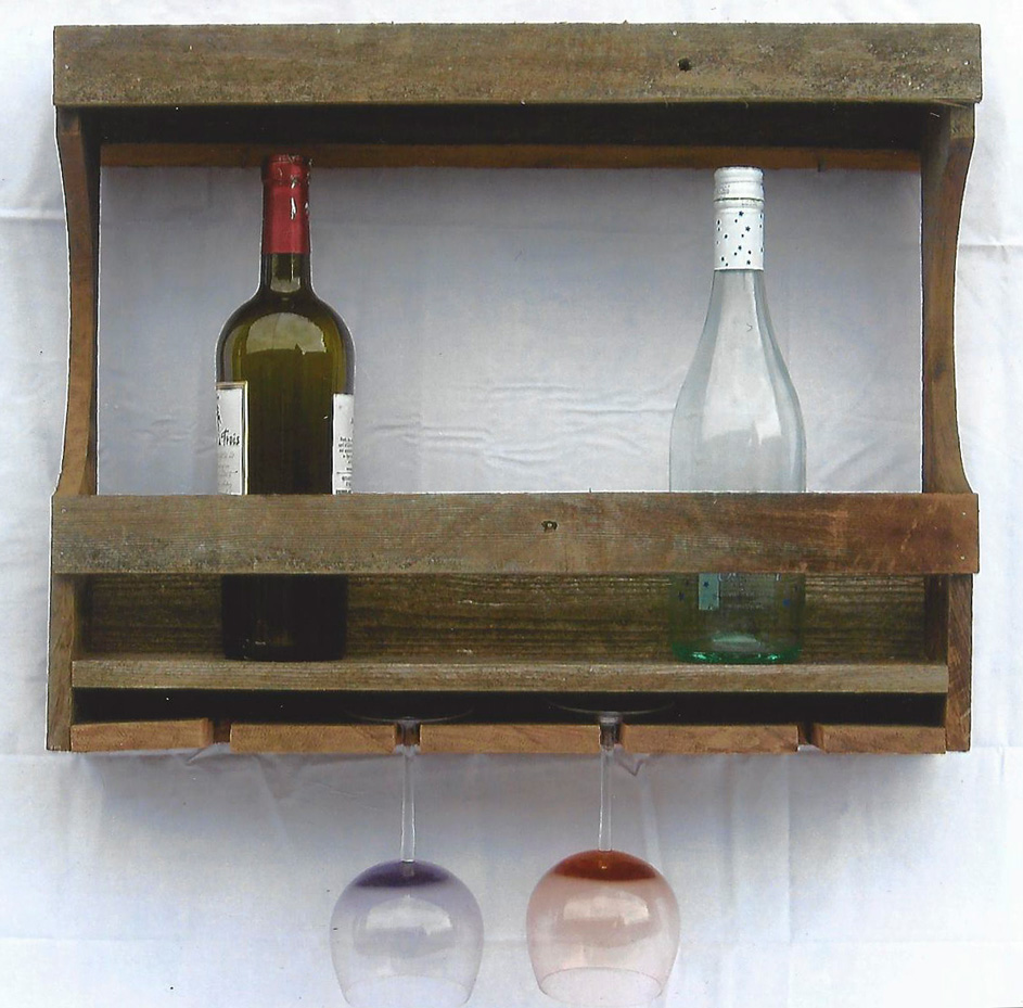 Wine Bottle and Glass Wall Shelf