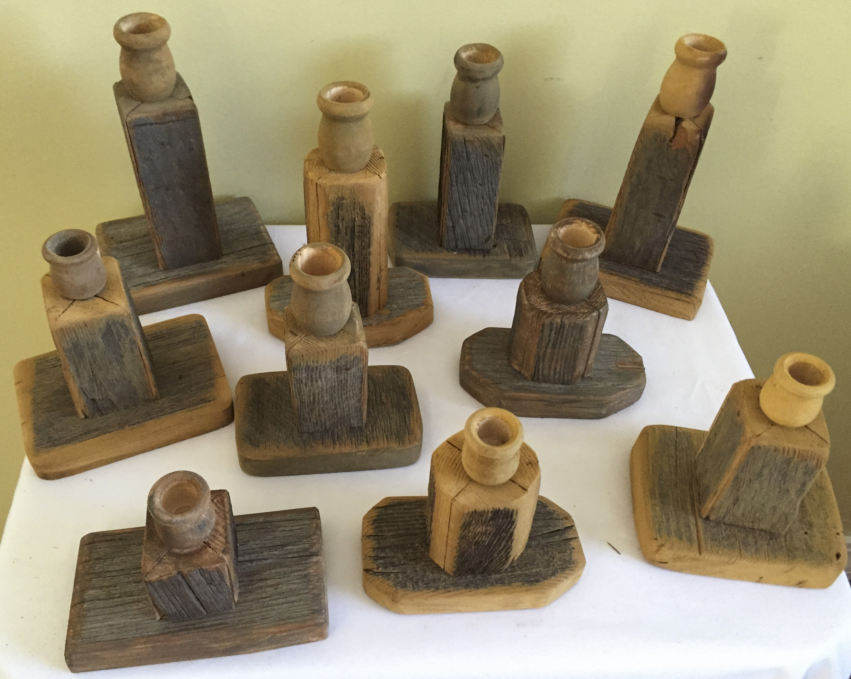 Rustic Wood Candle Sticks