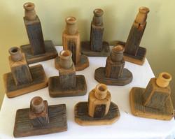 Rustic Wood Candle Sticks