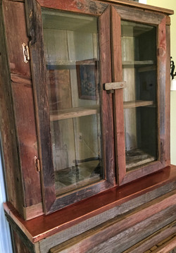Wood Hutch with Beveled Glass Doors