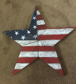 American Flag Painted Barn Wood Star