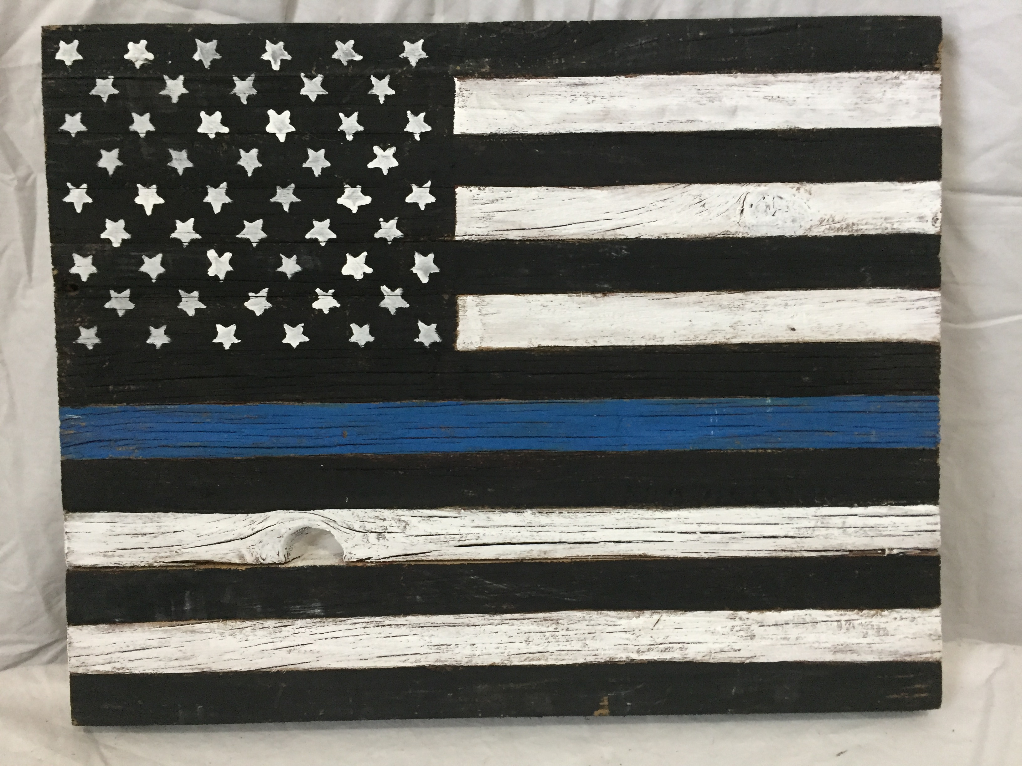 Barn Wood Thin Blue Line Flag