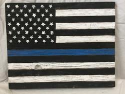 Barn Wood Thin Blue Line Flag