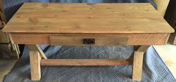 Barn wood and walnut sofa table