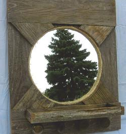 Round Mirror Coat Rack w/Shelf