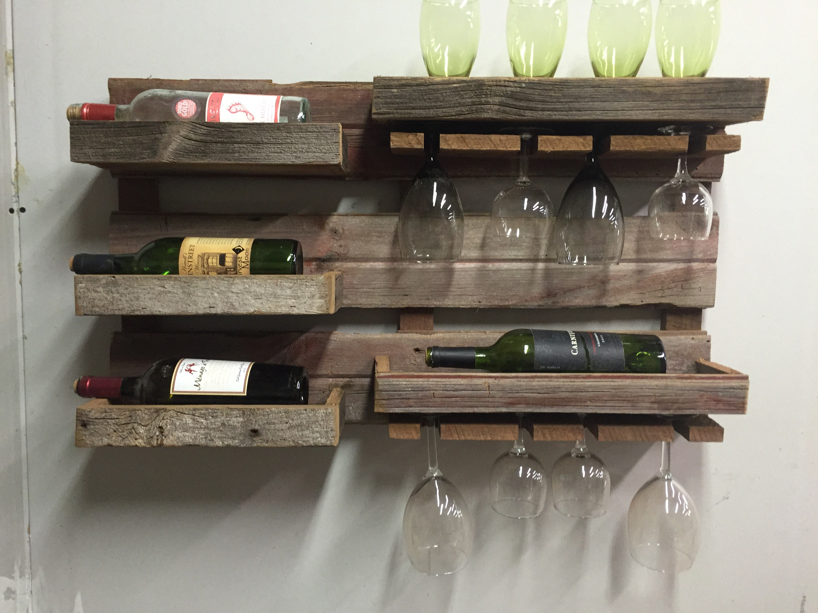Barn Wood Wine Wall Rack