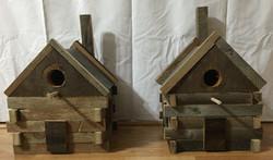 Barn Wood Log Cabin Bird House