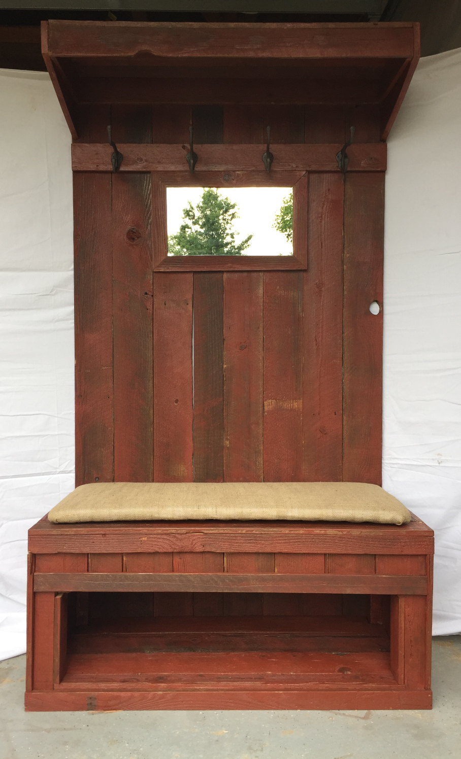 Rustic Barn Wood Hall Tree w/Mirror